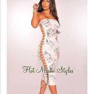 Floral lace up midi dress
